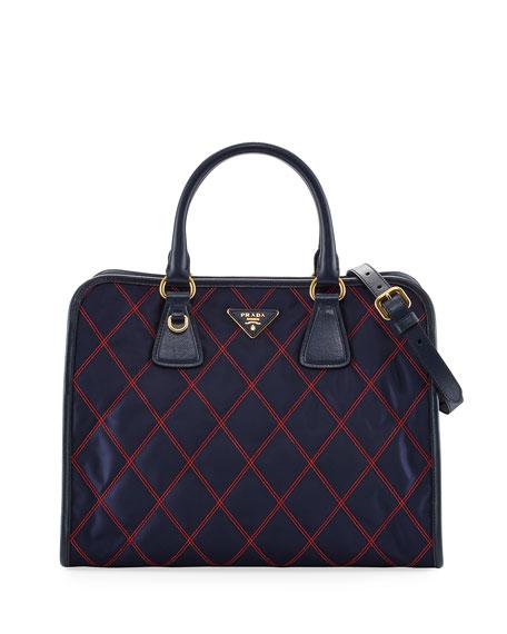 Prada Bicolor Quilted Nylon Medium Top Handle Bag,