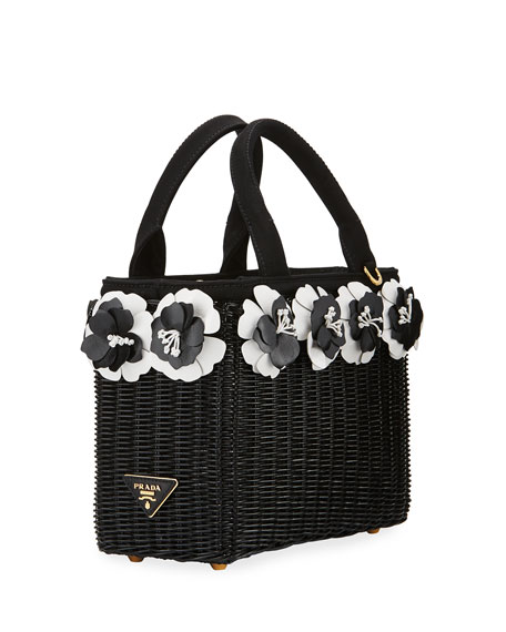 Prada Small Flowers Raffia Basket Bag