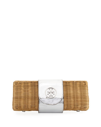Tory Burch Rattan Straw Metallic Clutch Bag From Neiman Marcus Styhunt