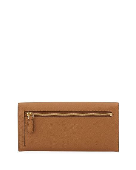 Greca Saffiano Flap Continental Organizer Wallet