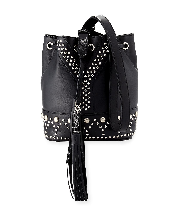 Small Y Studded Bucket Bag Black