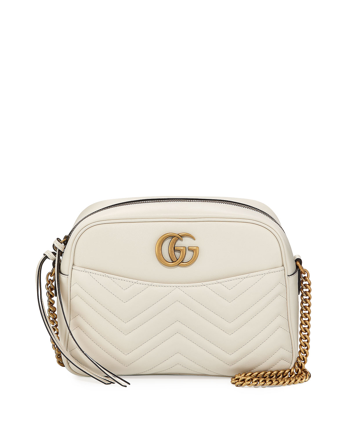 8d068aaf5dc8 Gucci GG Marmont 2.0 Medium Quilted Camera Bag, White | Neiman Marcus