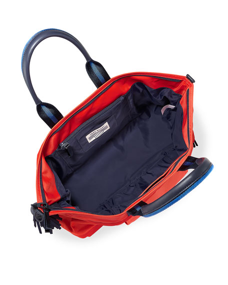 Nylon East-West Zip Gym Satchel Bag, Red