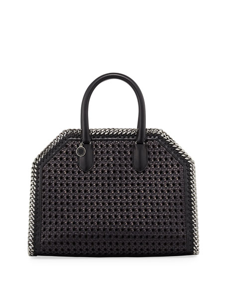 Stella McCartney Falabella Medium Wicker Tote Bag, Black