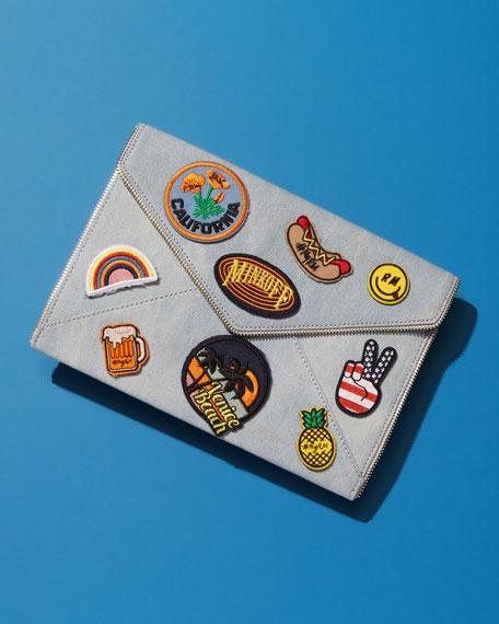Leo Patches Denim Envelope Clutch Bag