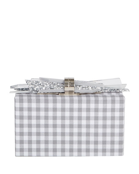 Edie Parker Wolf Shard Lock Gingham Clutch Bag,
