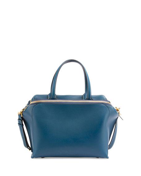Leather Zipper Tote Bag