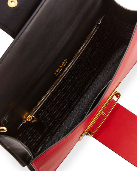 Printed Madras Metal Ribbon Shoulder Bag, Black/Fire (Nero+Fuoco)