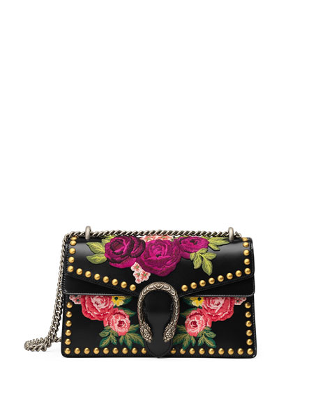 Gucci Dionysus Small Embroidered Shoulder Bag, Black/Multi
