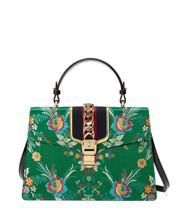 3ce3da42237 Gucci Sylvie Floral Jacquard Top-Handle Bag, Green Multi   Neiman Marcus
