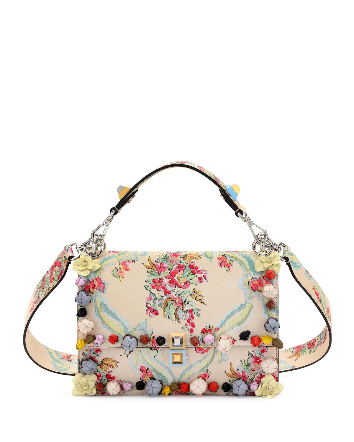 e309a2407e Fendi Kan I Floral Leather Shoulder Bag, Cream | Neiman Marcus