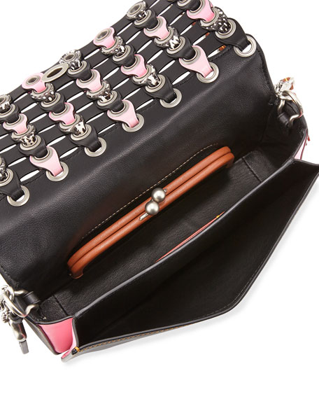Dinky Woven Leather Crossbody Bag