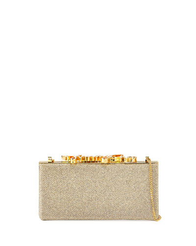 Celeste Small Frame Clutch Bag, Champagne