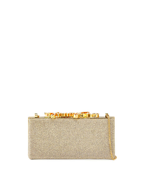 Jimmy Choo Celeste Small Frame Clutch Bag, Champagne