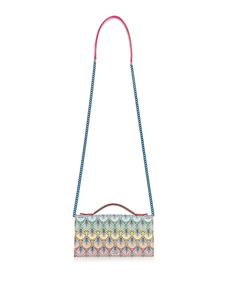 Rainbow Iphis-Print Chain Clutch Bag, Multi