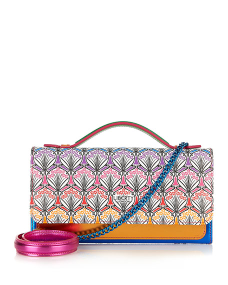 Liberty London Rainbow Iphis-Print Chain Clutch Bag, Multi