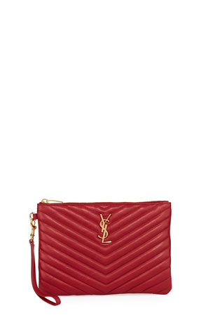 Saint Laurent Monogram YSL Small Quilted Pouch Wristlet Wallet