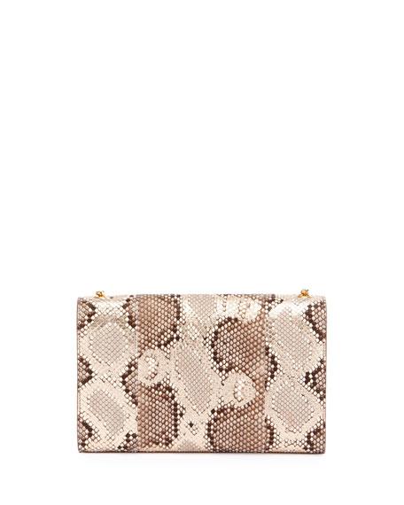 Kate Medium Monogram Tassel Python Flap Bag, Neutral/Multi