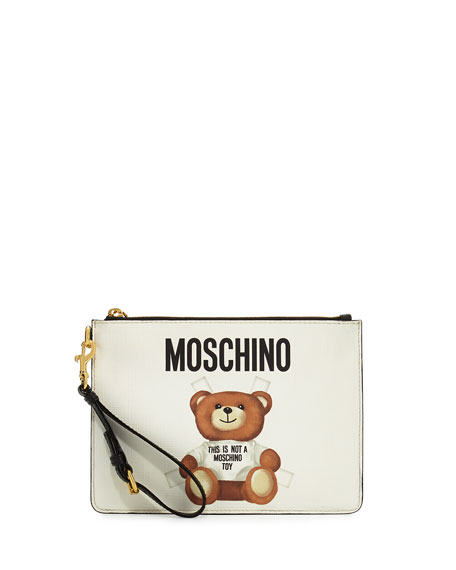 Moschino Teddy Bear Zip-Top Wristlet, White/Multi