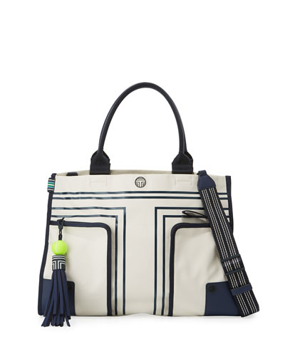 Tennis Coated East-West Gym Tote Bag, Neutral/Multi
