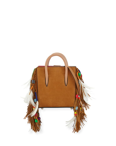 Paloma Nano Loubibird Leather Tote Bag, Brown