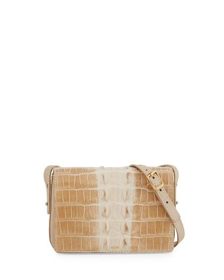 Pulce Horned Crocodile Crossbody Bag, Limestone