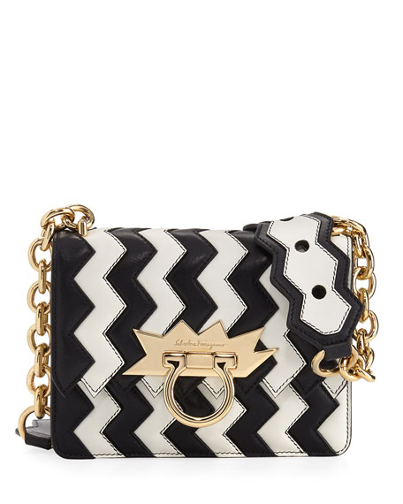 Two-Tone Zigzag Shoulder Bag, Multicolor