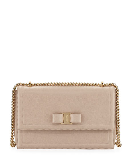Salvatore Ferragamo Ginny Vara Medium Flap Bag, Beige