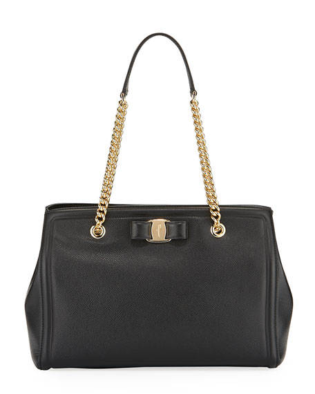 Salvatore Ferragamo MeLike Vara Medium Tote Bag, Black