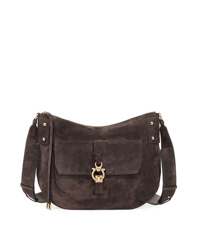 Large Suede Saddle Bag, Brown
