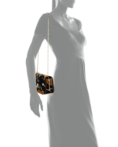 Panther Suede Chain Shoulder Bag, Brown