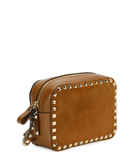 Rockstud Suede & Leather Camera Bag, Brown