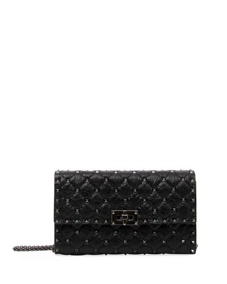 Valentino Rockstud Spike Crinkled Shoulder Bag, Black