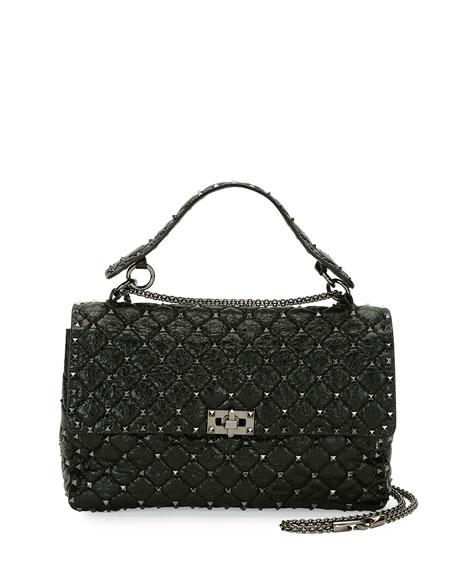 Valentino Garavani Rockstud Large Quilted Shoulder Bag, Black