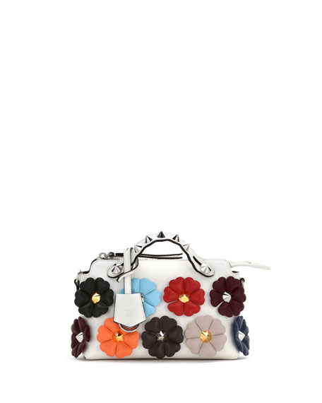 Small By the Way Studded Flower Satchel Bag, White Pattern