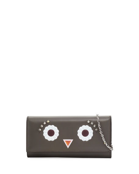 Faces Leather Wallet-on-Chain, Black/Multi