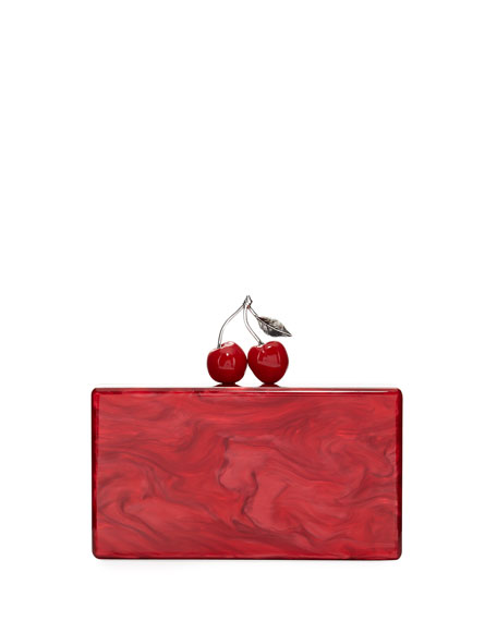 Edie Parker Jean Cherry Resin Hard Clutch Bag