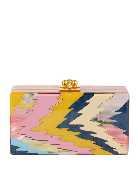 Edie Parker Jean Rippled Resin Clutch Bag, Pink