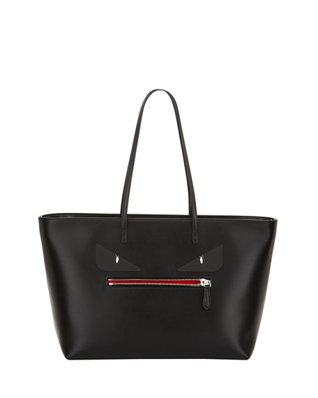 Fendi Roll Monster Face Leather Tote Bag, Black