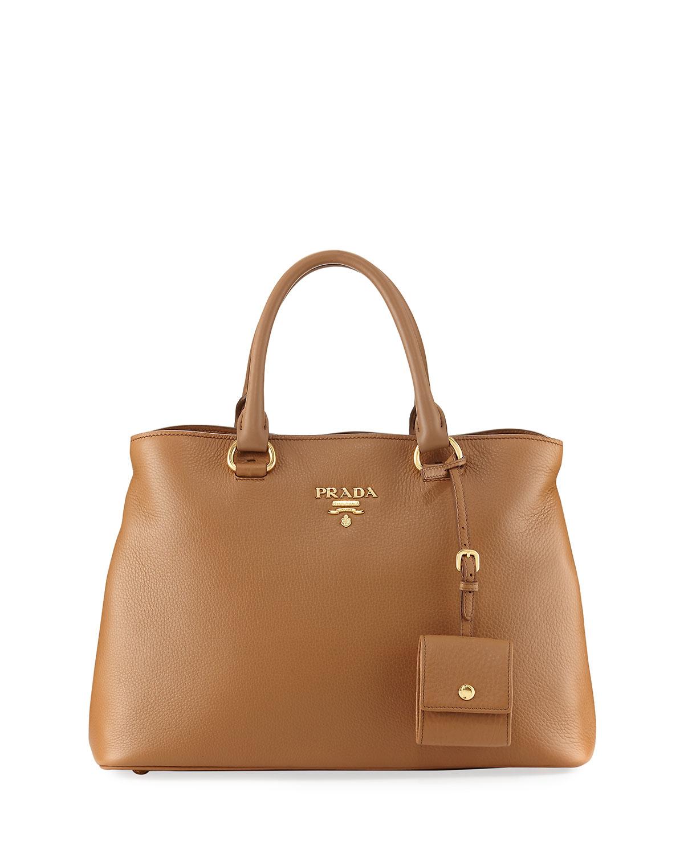 16a7a08c6821 Prada Pebbled Shoulder Tote Bag
