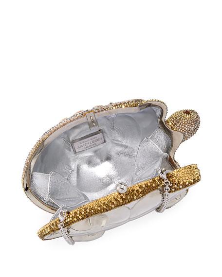 Crystal-Embellished Turtle Clutch Bag, Yellow