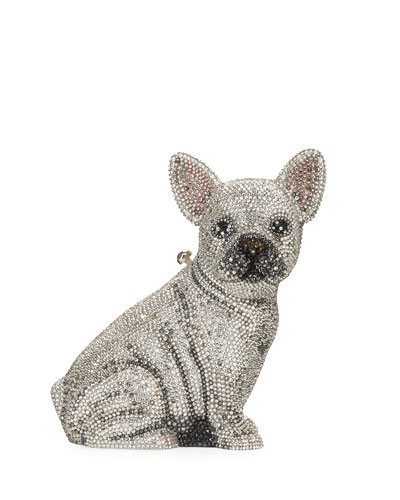 Maxine French Bulldog Crystal Clutch Bag, Silver