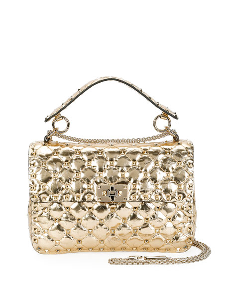 Rockstud Quilted Medium Camera Bag, Gold