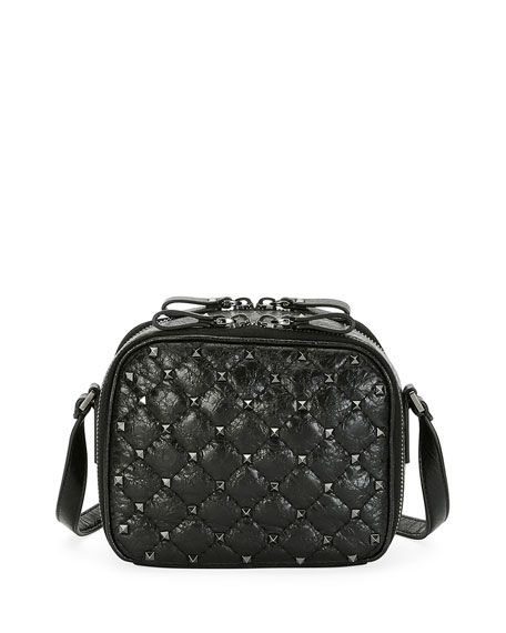 Rockstud Spike Crossbody Camera Bag, Black