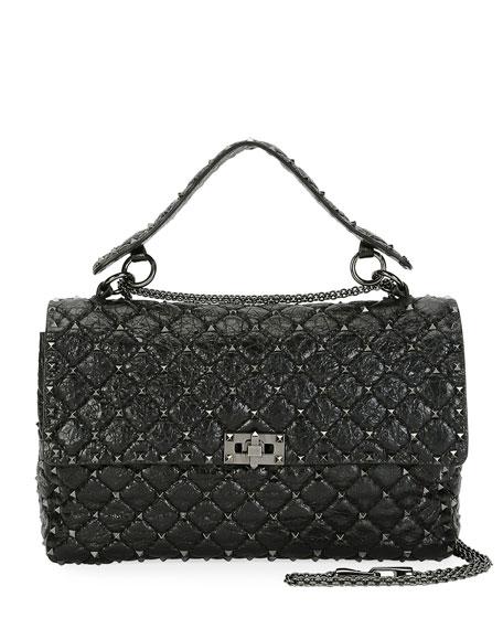 Valentino Rockstud Spike Crinkled Shoulder Bag, Black