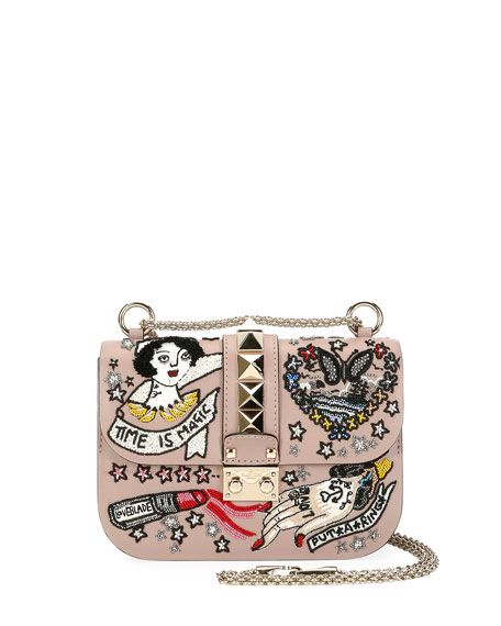 Valentino Lock Small Embellished Shoulder Bag, Beige