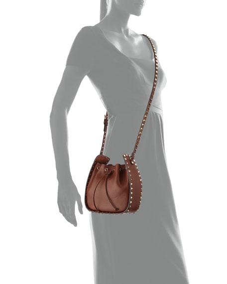 Rockstud Small Leather Drawstring Bucket Bag
