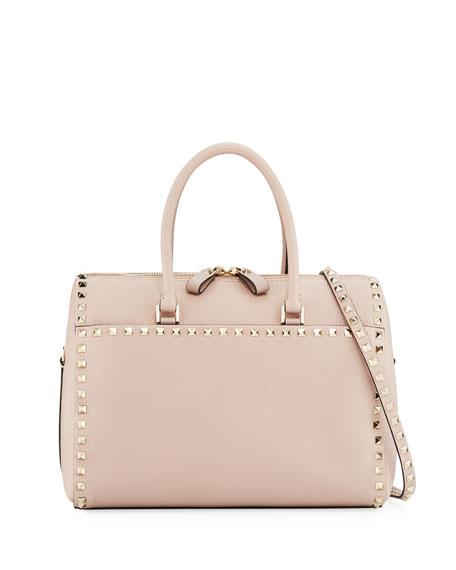Rockstud Leather Zip Satchel Bag, Beige