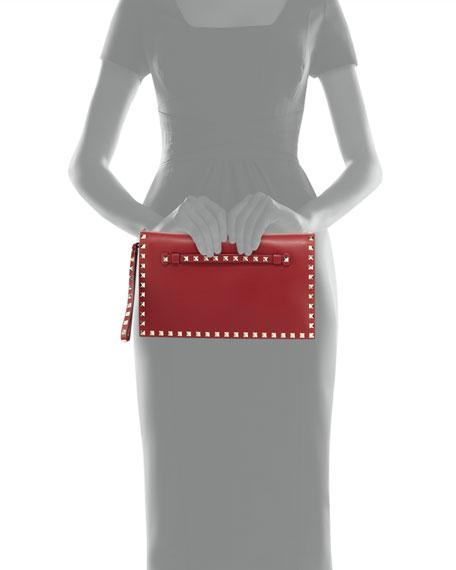 Rockstud Wristlet Clutch Bag, Red