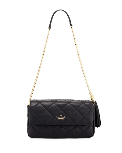 emerson place serena quilted shoulder bag, black